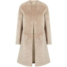 Womens Long Coats Helmut Lang Stone Reversible Shearling Coat (4,300 CAD) ❤ liked on Polyvore featuring outerwear, coats, coats & jackets, jackets, shearling coat, reversible coat, long coat, longline coat and pink coat