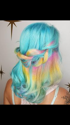Pastel blue with a hidden rainbow You are in the right place about mermaid hair art Here we offer yo Hair Dye Colors, Ombre Hair Color, Pretty Hair Color, Brown Ombre Hair, Mermaid Hair, Mermaid Makeup, Crazy Hair, Hair Art, Pink Hair