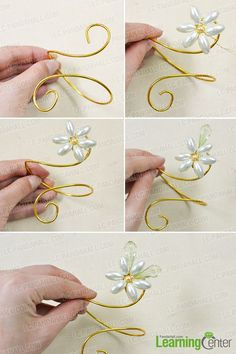twist the golden aluminum wire and add two drop beads