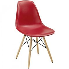 Modway Pyramid Dining Side Chair in Red Industrial Dining Chairs, Solid Wood Dining Chairs, Metal Chairs, Upholstered Dining Chairs, Dining Chair Set, Dining Room Chairs, Dining Table, Cafe Chairs, Patio Chairs