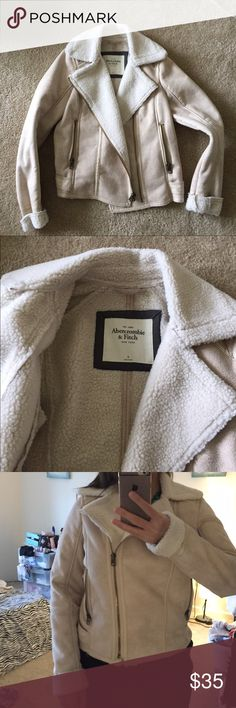 Abercrombie and fitch fur lined rider jacket Like new condition Abercrombie and Fitch jacket size M. It's got warm fur lining. Color is cross between nude pink and beige. Abercrombie & Fitch Jackets & Coats