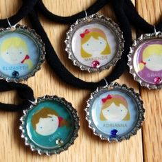Bottle cap necklace project (with printable faces) for kids to make for their friends