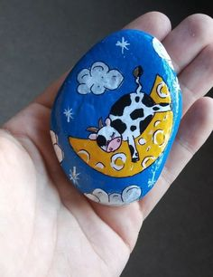Original hand painted art rock stone cow jumped over the moon nursery rhymes