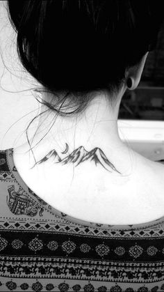Mountains and Moon Tattoo on Back of Neck. #tattoosonneckback
