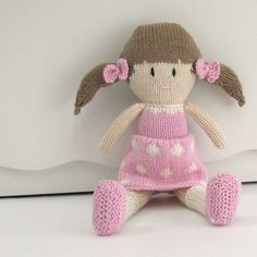 Knit Doll  Gift for Girl  Plush Doll Toy  by cotuitbayknitter