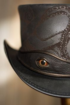 Made in U.S.A Steampunk Kraken Leather Top Hat by SteampunkHatter.com