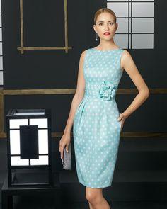 Short polka dot piqué dress. Rosa Clará 2016 Cocktail Collection.