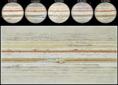 Five hand drawn sketches of Jupiter were used to create this beautifully detailed flat map of the ruling gas giant's turbulent cloud tops.  Observing on different dates in November and December of 2011, astronomical artist Fred Burgeot has relied on Jupiter's rotation to cover the planet's complete circumference.