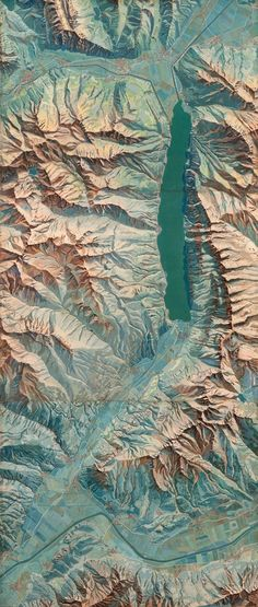 Eduard Imhof, gouache painted map of the area around Walensee, Switzerland, 1938.  Original image measures 9.6m in width and illustrates he area around Walensee at 1:10,000. Work appeared in Imhof's classic text Cartographic Relief Representation which had a single purpose in teaching the means by which to represent relief in maps.   |  http://mapdesign.icaci.org/2014/02/mapcarte-58365-karte-der-gegend-um-den-walensee-by-eduard-imhof-1938/