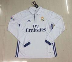 Real Madrid Home Longsleeve Jersey Real Madrid Soccer, Sport Wear, Adidas Jacket, Polo Ralph Lauren, Long Sleeve, Sports, Mens Tops, How To Wear, Jackets