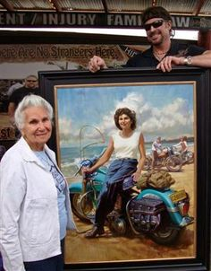 """86 yo Gloria Tramontin Struck - member of the Motor Maids for 54 years, has loved all her bikes, declaring that she was """"blue every time she sold one"""".  Her first bike was an Indian Pony.  Her second bike, bought used during the WWII years, was a 1941 Bonneville Scout.  After the war, she bought a brand new 1946 Indian Chief.  Then, in 1950 she """"switched"""" to Harleys and has owned 7 more of them since."""