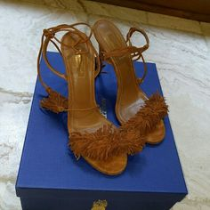 Aquazzura wild thing fringe sandals Size 38 (8) best-selling Aquazurra wild thing suede fringe sandals in caffe (tan). Worn only twice. In box with all packaging and dust bag Aquazurra Shoes Sandals
