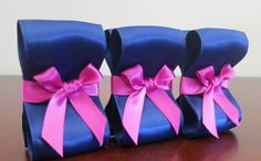 Wedding Place Card Holders - One Hundred (100) with Navy and Fuchsia Satin Ribbon  - Customize Your Colors via Etsy
