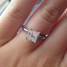 Classic diamond solitaire Princess Cut Engagement Ring.  repinned by bridesandrings.com