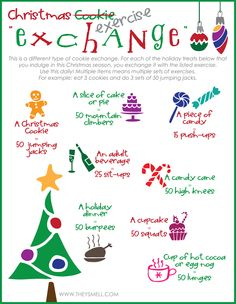 Exchange your Indulgences This Holiday Season with this FREE printable. Trade treats for exercises to make sure you burn off the extra calories. Have your cake & eat it too. And cookies. And brownies. And egg nog. And candy. And...
