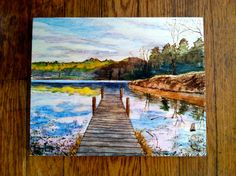 Wood burning and watercolor painting - Beaver Lake boat dock in Asheville, NC