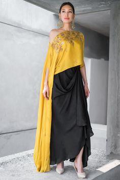 Mustard Embroidered Cape and Drape Skirt Set For Women / Indian Dress / Party Wear / Wedding Dress / Drape Dress / Designer Wear / Trending Indian Designer Outfits, Indian Outfits, Designer Dresses, Stylish Dresses, Fashion Dresses, Stylish Dress Book, Formal Dresses, Anarkali, Lehenga Choli