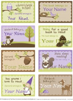 Kids Bookplate Labels by Ink Tree Press Book Labels, Kids Labels, Printable Labels, Free Printables, Labels Free, School Labels, Label Templates, Classroom Themes, Journal Cards