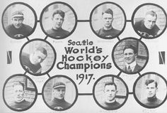 Seattle Metropolitans Stanley Cup winning team in 1917. Top row: Harry Holmes, Bobby Rowe, Eddie Carpenter, Jack Walker; Middle: Frank Foyston, Pete Muldoon, mgr.; Bottom: Bernie Morris, Cully Wilson, Roy Rickey, Jim Riley.