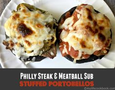 These Philly Steak and Meatball Sub stuffed portobellos are a great low carb meal that is hearty, delicious and super easy to make.
