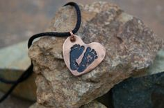 Keepsake Bronze or Steel Baby Footprint Pendant $39 | AugustaWynde - Jewelry on ArtFire