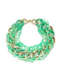 Interlocking Jade Green & Gold Triple Strand Necklace by Kenneth Jay Lane at Gilt