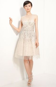 Gorgeous rehearsal dinner dress!  Nordstrom ~ Alice and Olivia  'Alyssa' Embellished Dress. {Sequins, sheer lace overlay, organza}.