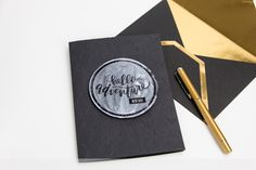 Foiled design makes a watercolor resist. Tutuorial by @createoften for @heidiswapp Featuring Black Cat cardstock by @coredinations