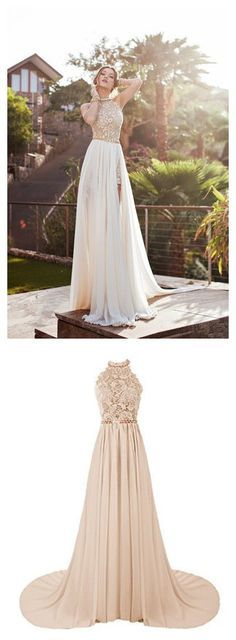Prom dress,Prom dress 2016,Halter prom dress,Beaded prom dress,Long prom dress,slip prom dress,chiffon prom dress,Gorgeous A-line Halter Neck Lace top Champagne Chiffon Long Prom Dress