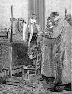 Röntgen (https://pinterest.com/pin/287386019943161916/)  examines a patient. From a German popular scientific book of 1896. Mary Evans Picture Library.