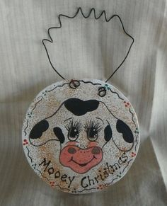 Handpainted Prim Mooey Christmas Cow Wooden Ornament | eBay