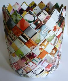 Paper basket, made out of old journals