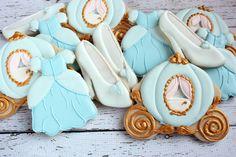 Cinderella Birthday Cookies, Cinderella Wedding, Cinderella Party, Cinderella Carriage, Glass slipper, Cinderella favors, Decorated Cookies by Bakinginheels on Etsy https://www.etsy.com/listing/262011654/cinderella-birthday-cookies-cinderella