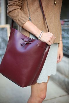 Burgundy bucket bag | Charmingly Styled