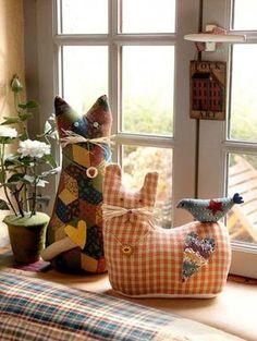 Quilting Cat and Cat&Bird : Patron dans livre born To Quilt. Kit sur demande