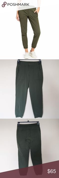 """Athleta Trekkie Jogger 2.0 forest green pants 2017 Excellent condition, no sign of wear. LIKE NEW. size small petite. Still available online for $90! Dark forest green! From their site; Fit & Sizing Semi-fitted, Mid-rise, Tapered leg Sits two fingers below the navel, fits loose through the leg then tapers from the knee down into a slim fit Inseam: Regular: 28.5"""" Petite: 26.5"""" Tall: 31.5"""" Athleta Pants"""