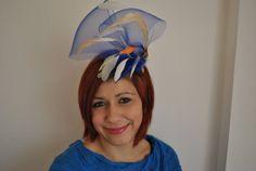 Wedding HatUniqueTurkish Blue Fascinator Hat with cream by Turquas