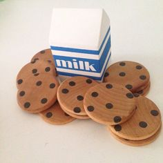 NEW Wooden Play Food 6 Chocolate Chip Cookies by BYOImagination