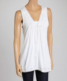 Look what I found on #zulily! White Ruched Tank by Avani Del Amour #zulilyfinds