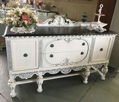 Most beautiful white cream antique Jacobean buffet