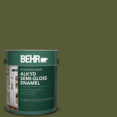 BEHR 1 gal. #PPU9-25 Eastern Bamboo Semi-Gloss Enamel Alkyd Interior/Exterior Paint
