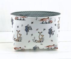 Fabric Storage Baskets, Storage Bins, Organizer Bins, Baby Shower Gift Basket, Baby Shower Gifts, Basket Organization, Organization Station, Diaper Caddy, Woodland Animals