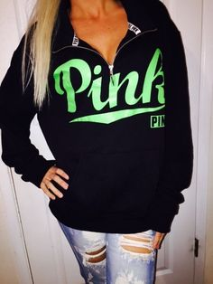 M-L Victoria's Secret BLACK Half Zip fleece sweatshirt Jacket LOVE PINK SOLD OUT #VictoriasSecret #SweatshirtCrew