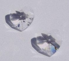 Copy of 2 Swarovski Crystal Pendants 10mm crystal HEART Pendants Style 6202 CLEAR CRYSTAL