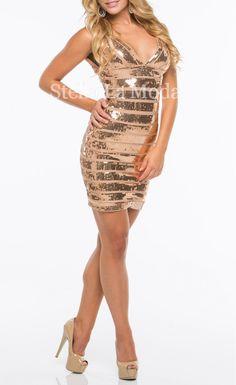 Glamours Gold Sequin Bandage Dress - Stella La Moda