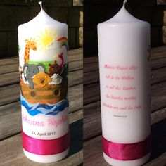 ❤️ Taufkerze Arche Noah, Candle, selfmade