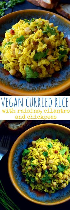 This vegan curried rice with raisins, cilantro and chickpeas is so quick and easy to make, nutritious and delicious. Steamed rice infused with curry powder and turmeric, raisins for a bit of sweetness, cilantro for freshness, green onion for crunch and chickpeas for protein make this one super side dish or main.