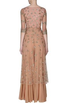 Astha Narang presents Peach and gold sequins and zari floral work jacket and sharara pants set available only at Pernia& Pop Up Shop. Shadi Dresses, Event Dresses, Pakistani Dresses, Indian Dresses, Indian Bridal Fashion, Indian Wedding Outfits, Indian Outfits, Indian Clothes, Indian Designer Outfits