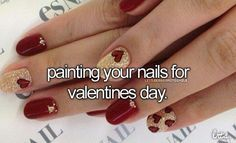 painting your nails for valentine's day.