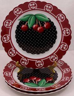 Set of 3 Mary Engelbreit Cherry Cameo Salad or Dessert Plates #MaryEngelbreit